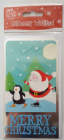 Merry Christmas Santa & Penguin Ice Skating Money Wallet